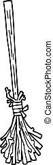 line drawing cartoon magic broom sticks