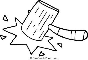 line drawing cartoon mallet