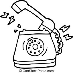 line drawing cartoon old rotary dial telephone