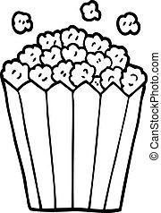 line drawing cartoon popcorn