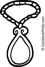 line drawing cartoon red pendant