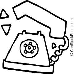 line drawing cartoon retro telephone