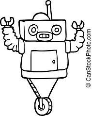 line drawing cartoon robot