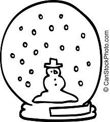 line drawing cartoon snowglobe