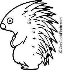 line drawing cartoon spiky hedgehog