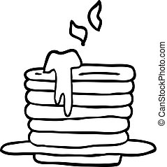 line drawing cartoon stack of pancakes