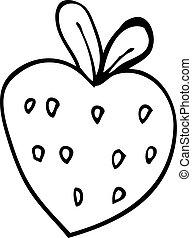 line drawing cartoon strawberry fr