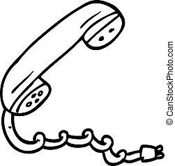 line drawing cartoon telephone handset