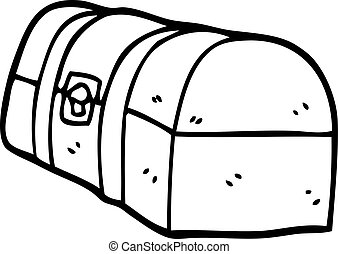 line drawing cartoon treasure chest