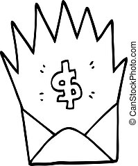 line drawing cartoon unexpected pay check