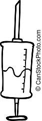 line drawing cartoon vaccine injection