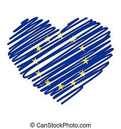Line drawing heart - EU on white