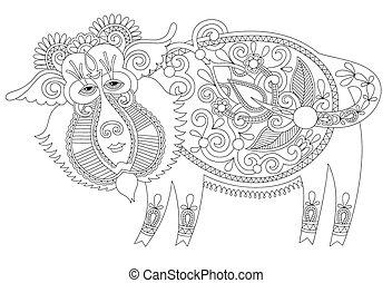 line drawing in ukrainian karakoko style of decorative...