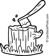 line drawing of a axe stuck in tree stump