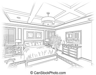 Line Drawing of A Bedroom