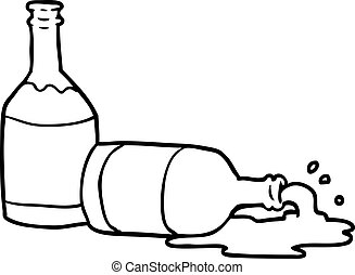 line drawing of a beer bottles with spilled beer