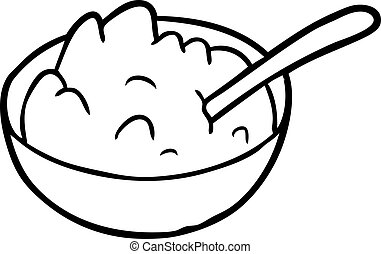 line drawing of a bowl of porridge