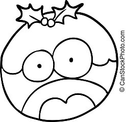 line drawing of a christmas pudding with shocked face