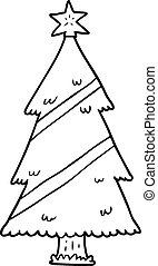 line drawing of a christmas tree