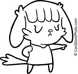 line drawing of a dog girl pointing
