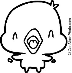 line drawing of a happy bird