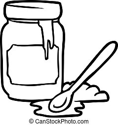 line drawing of a jar of honey