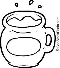 line drawing of a mug of coffee