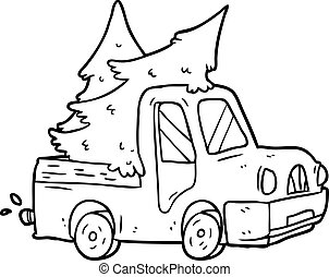 line drawing of a pickup truck carrying christmas trees