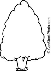 line drawing of a tall tree