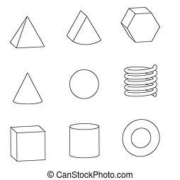 Line drawing of basic geometric shapes