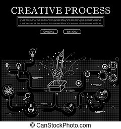 line drawing of concept of creative process vector graphic in black and white