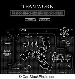 line drawing of concept of team & teamwork vector graphic in black and white.