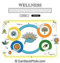 line drawing of concept of wellness vector graphic