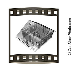 line drawing of house. Top view. 3d illustration. The film strip.