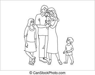 Line drawing of the family