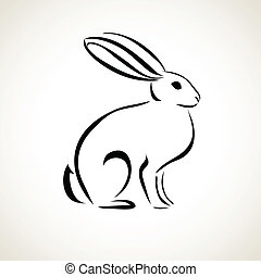 line drawing of the rabbit - Easter card with rabbit outline