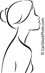 Line drawing of women profile