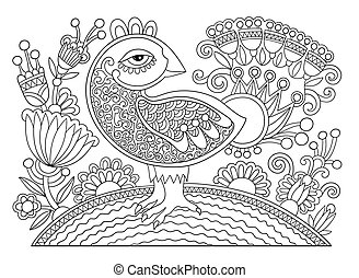line drawing page of coloring book bird and flower -...