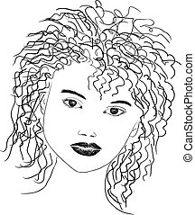 line drawing portrait - black and white line drawing of...