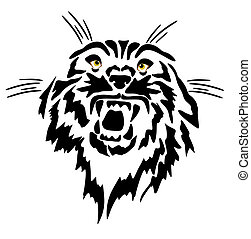 Line drawing, Tattoo of a feline growling...