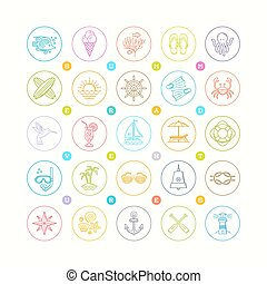Line drawing vector icon set - Summer vacation, holidays and...