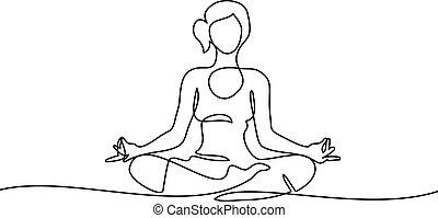 line drawing Woman sitting cross legged meditating - ...