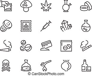 Simple Set of Drugs Related Vector Line Icons. Contains such Icons as Marijuana, Cocaine, Heroin, LSD, Extasy and more. Editable Stroke. 48x48 Pixel Perfect.