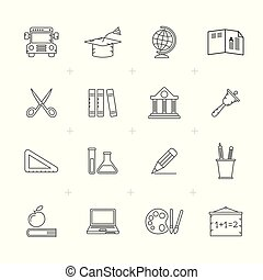 Line Education and school icons