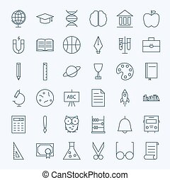 Line Education and Science Icons Set