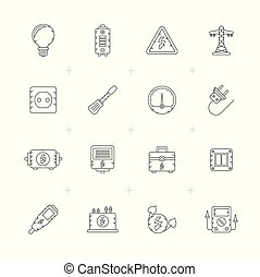 Line Electricity,power and energy icons