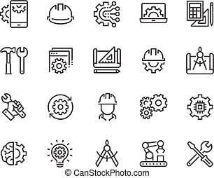 Line Engineering Icons - Simple Set of Engineering Related...