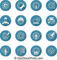 Line Engineering Icons - Simple Set of Engineering Flat Line...