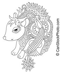 line ethnic drawing nice hedgehog isolated for print on...