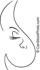 line face woman draw